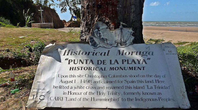Moruga - Columbus historical monument. Columbus landed here on his third voyage in 1498. This is on the southern coast of the island of Trinidad, West Indies. the sea in the background is named the Columbus channel. it separates the island of Trinidad from Venezuela. Kalamazadkhan CC BY 4.0