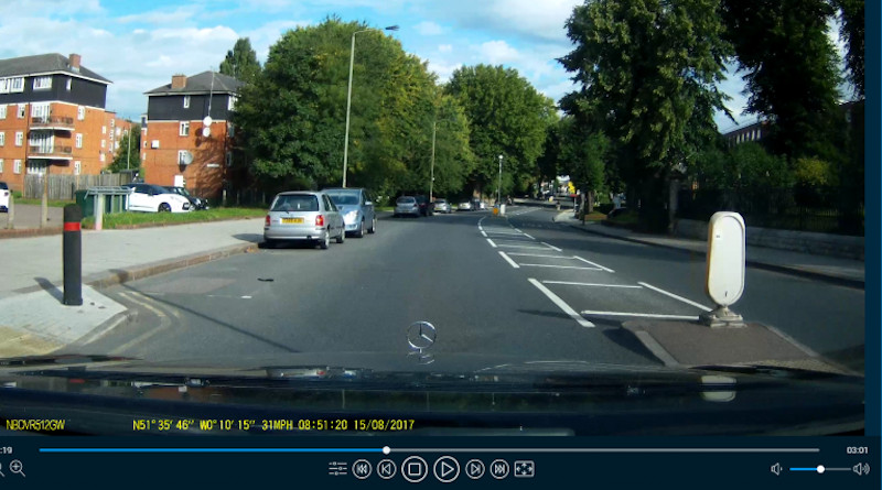 A view of a road from a dashcam replayer Credit: WMG, University of Warwick