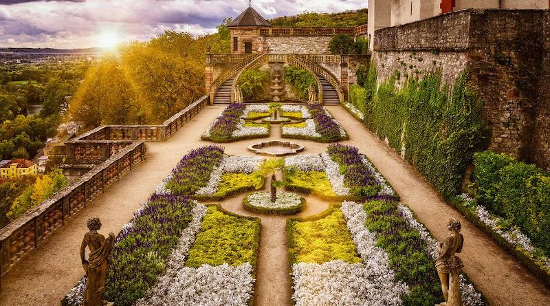 Germany Sunshine Spring Garden Baroque Architecture Historically Symmetry