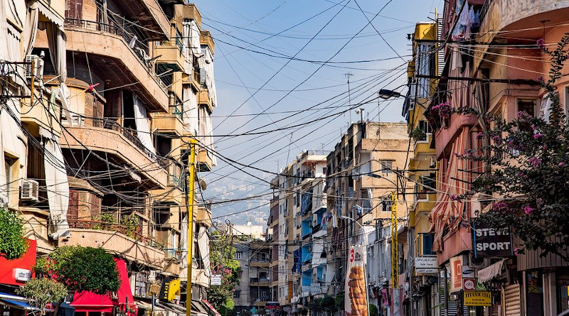Beirut Lebanon Electricity Street Buildings Cables