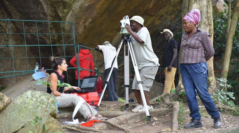 Paper co-author Dr. Christine Ogola oversees excavations at Kakapel Rockshelter with MPI-SHH PhD student Victor Imjili and post-doctoral researcher Emma Finestone. CREDIT: Steven Goldstein