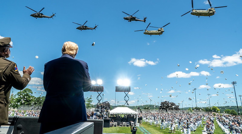 President Donald J. Trump, joined by LTG Darryl Williams, 60th Superintendent of the United States Military Academy at West Point, observes a helicopter flyover at the conclusion of the United States Military Academy commencement ceremony Saturday, June 13, 2020, in West Point, N.Y. (Official White House Photo by Shealah Craighead)