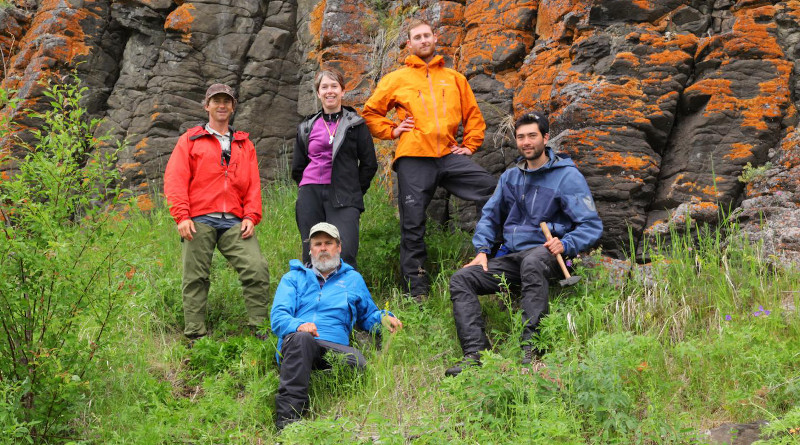 Columnar basalt from the Siberian flood basalts on an island in the Angara river, south of the volcaniclastics province. Left to right: Scott Simper, Lindy Elkins-Tanton, Sam Bowring, Seth Burgess and Ben Black. CREDIT: Scott Simper