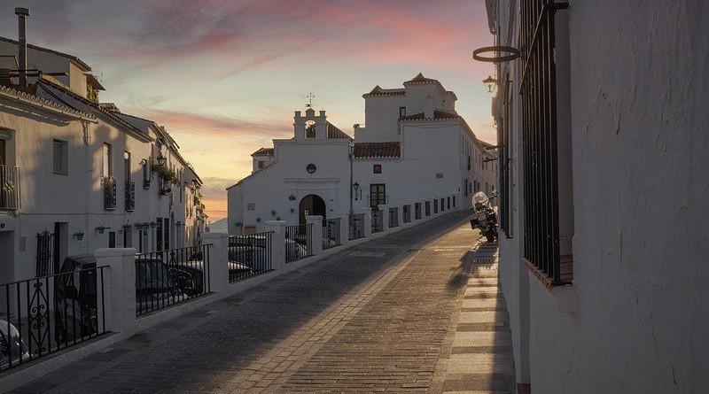 Mijas Andalusia Spain Sunset Sky Blue Peaceful