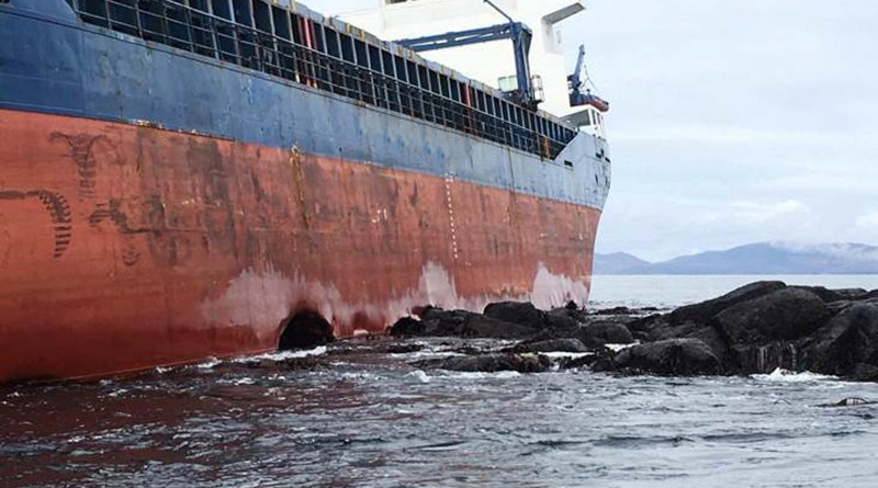 Photo of the grounded cargo vessel KAAMI. Photo Credit: Resolve Marine