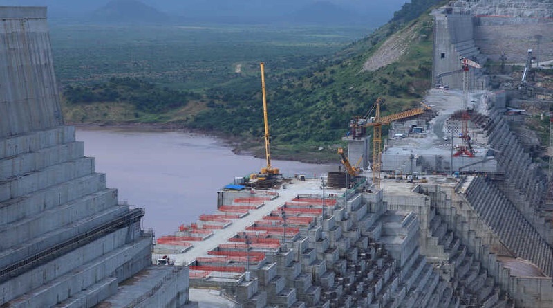 The giant Grand Ethiopian Renaissance Dam that Ethiopia is building on the Blue Nile in September 2019. Photo Credit: VOA