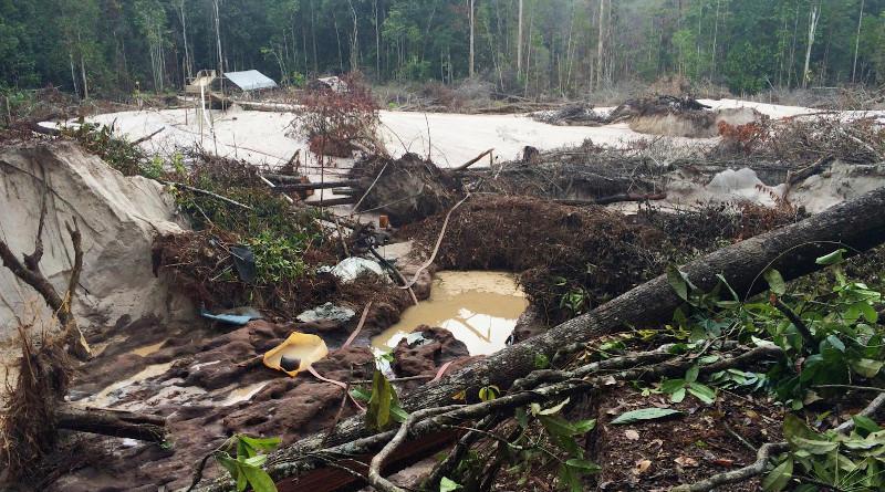 Initial forest loss at a gold mining site at Mahdia, Guyana 2016. CREDIT: Michelle Kalamandeen 2016
