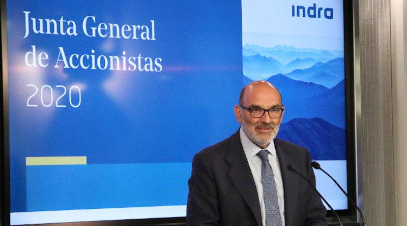 Fernando Abril-Martorell, Indra's Chairman, speaking at 2020 Shareholders Meeting. Photo Credit: Indra