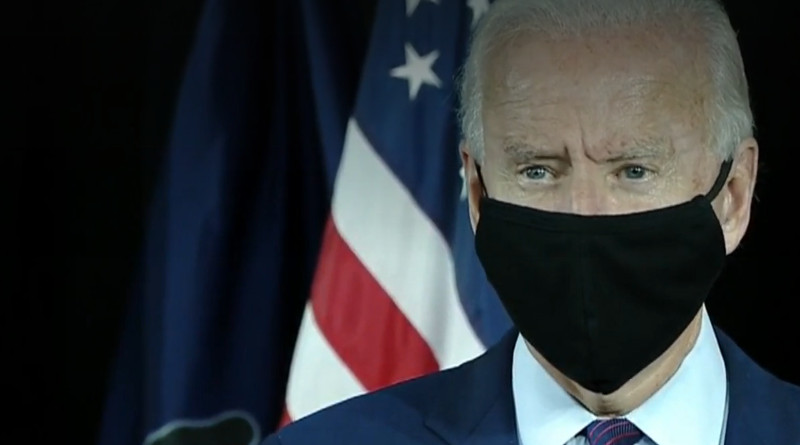Presumptive Democratic Party presidential nominee Joe Biden wearing a face mask. Photo Credit: Video screenshot KDKA-TV interview (see below)