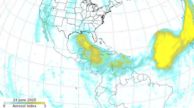 This June 24, 2020 image is from the Suomi NPP OMPS aerosol index. The dust plume moved over the Yucatan Peninsula and up through the Gulf of Mexico. The largest and thickest part of the plume is visible over the eastern and central Atlantic. Credits: NASA/NOAA, Colin Seftor