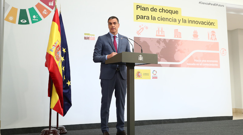 Spain's Prime Minister Pedro Sánchez presents Action Plan for Science and Innovation. Photo Credit: Pool Moncloa/Fernando Calvo