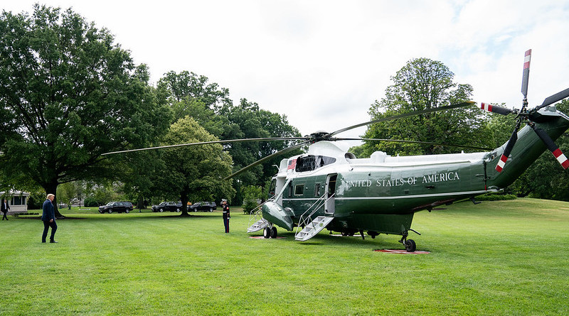 President Donald J. Trump walks across the South Lawn of the White House Friday, July 10, 2020, and boards Marine One to begin his trip to Florida. (Official White House Photo by Joyce N. Boghosian)