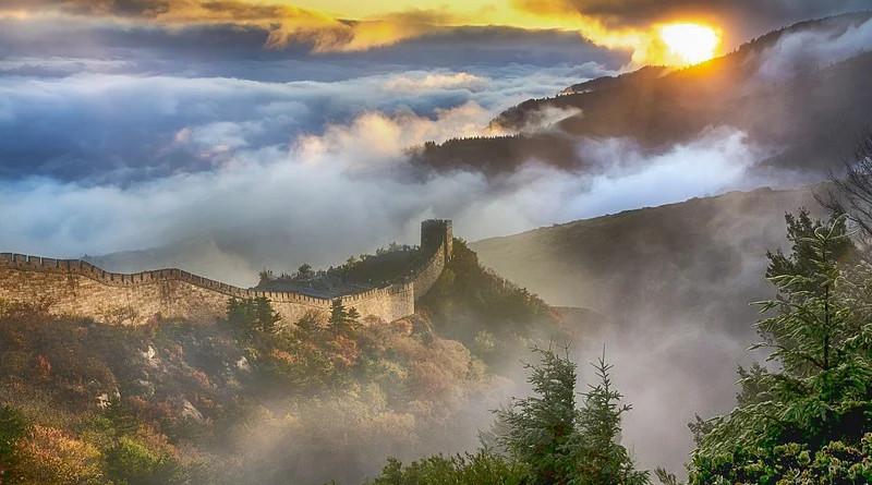 Landscape China Wall Sky Clouds Fog Sun Mountain