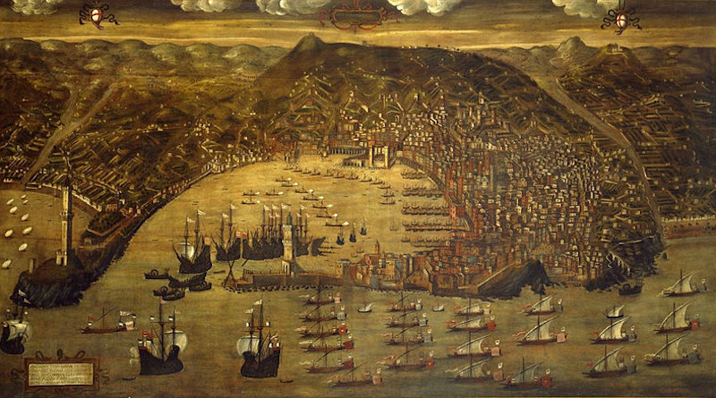 """The Genoese fleet returning to port after a successful expedition against the Ottoman Turks. Depicted in the 1597 painting """"View of Genoa,"""" by Christoforo de Grassi."""
