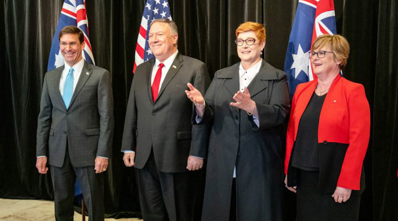 From left, U.S. Secretary of Defense Mark Esper and Secretary of State Mike Pompeo with Australia's Foreign Minister Marise Payne and Defense Minster Linda Reynolds (State Dept./Ron Przysucha)