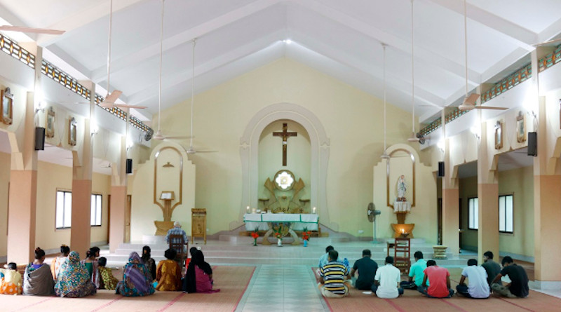 Dalit Catholics pray inside Mary, Queen of the Poor Catholic Church in Chuknagar of Khulna district in Bangladesh. (Photo: Stephan Uttom/UCA News)