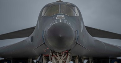 A 9th Expeditionary Bomb Squadron B-1B Lancer sits on the flightline at Andersen Air Force Base, Guam, May 1, 2020. About 200 airmen and four B-1s assigned to the 7th Bomb Wing at Dyess Air Force Base, Texas, deployed to support Pacific Air Forces training efforts with allies, partners and joint forces and to fly strategic deterrence missions in the Indo-Pacific region. Photo Credit: Air Force Senior Airman River Bruce
