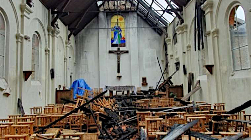 The aftermath of a fire at the Parish of St. Paul in Corbeil-Essonnes, France, July 4, 2020. Credit: OIDACE.