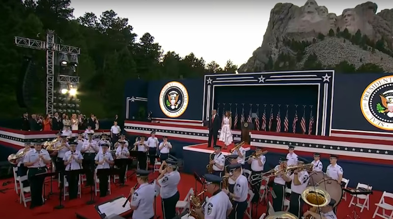 President Donald Trump and the First Lady Melania Trump participate in the 2020 Mount Rushmore Fireworks Celebrations. Photo Credit: Screenshot White House video