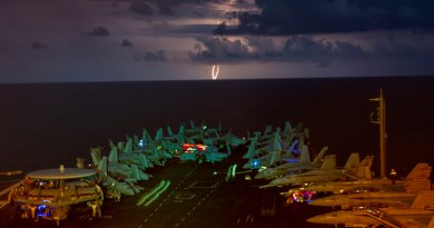 Lightning flashes over the aircraft carrier USS Nimitz (CVN 68) as it transits the South China Sea. Nimitz is the flagship of the Nimitz Carrier Strike Group (CSG). The Nimitz and Ronald Reagan CSGs are conducting dual carrier operations in the South China Sea as the Nimitz Carrier Strike Force. (U.S. Navy photo by Mass Communication Specialist 1st Class John Philip Wagner, Jr./Released)