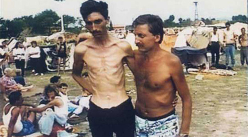 Detainees at the Trnopolje Camp, near Prijedor, Bosnia and Herzegovina. Credit: Photograph provided courtesy of the ICTY, Wikipedia Commons.