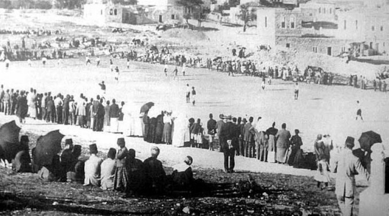 Soccer match, Bab as-Sahira, Jerusalem in 1910. Photo Credit: Khalil Raad, Library of Congress