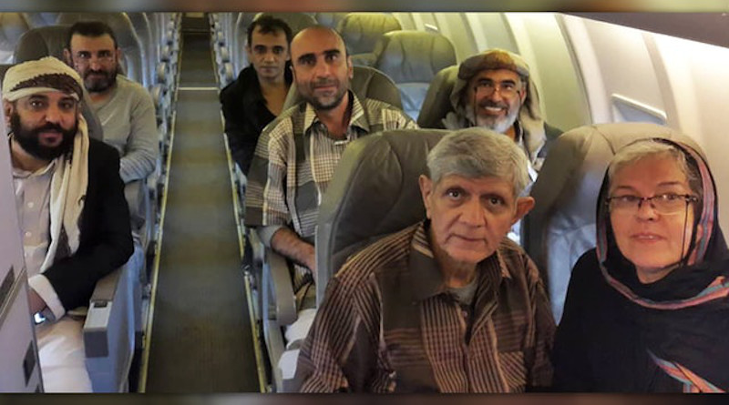 Six Baha'is are in a safe location where they can recuperate after enduring extremely difficult conditions for three to nearly seven years in prison, pictured left to right: back row: Mr. Waleed Ayyash, Mr. Wael al-Arieghie; middle row: Mr. Akram Ayyash, Mr. Kayvan Ghaderi, Mr. Hamed bin Haydara; front row: Mr. Badiullah Sanai. Also pictured is Mr. Sanai's wife, Mrs. Faezeh Sanai. Photo Credit: BWNS