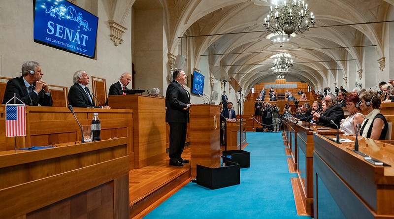 """Secretary of State Michael R. Pompeo delivers a speech on """"Securing Freedom in the Heart of Europe"""" and participates in a question and answer session at the Czech Senate, in Prague, Czech Republic, on August 12, 2020. [State Department photo by Ron Przysucha/ Public Domain]"""