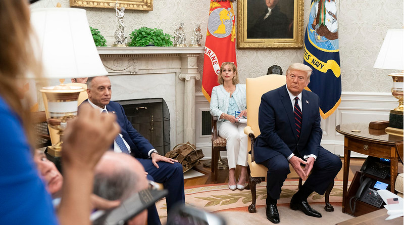President Donald J. Trump talks and takes questions from members of the press during a bilateral meeting with Prime Minister Mustafa Al-Kadhimi of the Republic Iraq Thursday, Aug. 20, 2020, in the Oval Office of the White House. (Official White House Photo by Shealah Craighead)