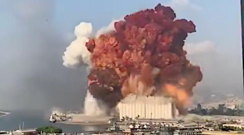 Screenshot of massive explosion in Beirut, Lebanon. Credit: Social Media, Arab News