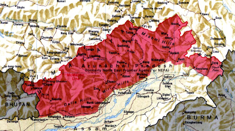 The McMahon Line forms the northern boundary of Arunachal Pradesh (shown in red) in the eastern Himalayas administered by India but claimed by China. Credit: CIA, Wikipedia Commons