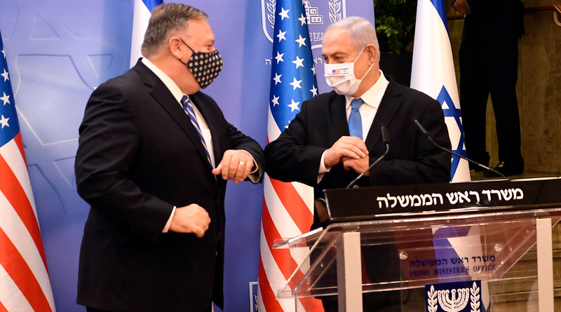 Secretary of State Michael R. Pompeo and Israeli Prime Minister Benjamin Netanyahu deliver statements to the press at the Israeli Prime Minister's Office in Jerusalem, Israel, on August 24, 2020. [U.S. Embassy Jerusalem photo by Matty Stern/ Public Domain]