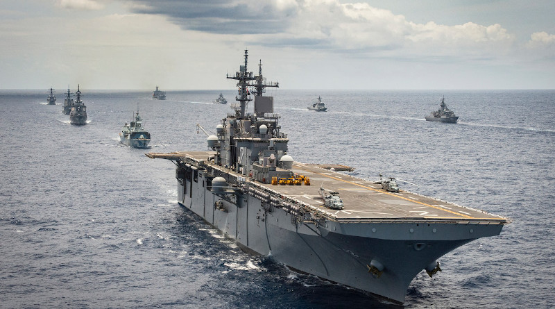 A multinational naval force steams in formation off the coast of Hawaii during Exercise Rim of the Pacific 2020, Aug. 21, 2020. Photo Credit: DOD