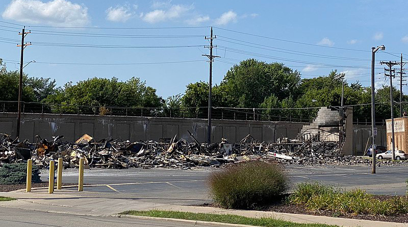 Ruins of the Kenosha, Wisconsin Community Corrections Division building that burned down on August 24, 2020. Photo Credit: Lightburst, Wikipedia Commons.
