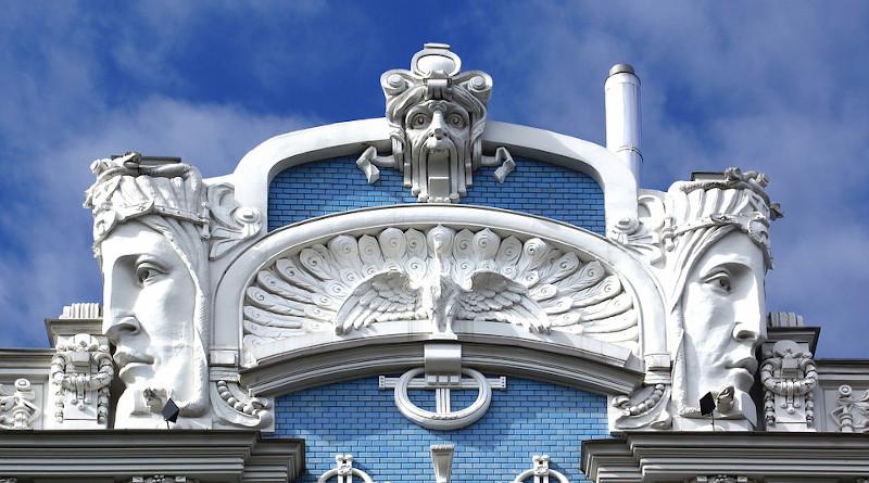 Latvia Riga House Facade Art Nouveau Architecture