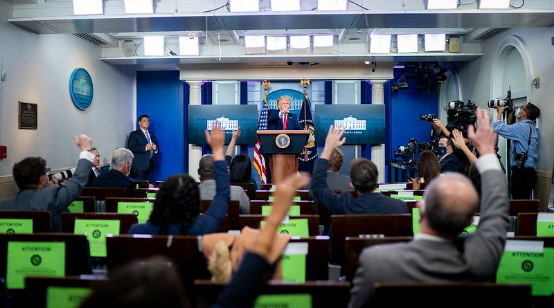 President Donald J. Trump points to a reporter to take a question during a press conference Wednesday, Sept. 16, 2020, in the James S. Brady Press Briefing Room of the White House. (Official White House Photo by Tia Dufour)