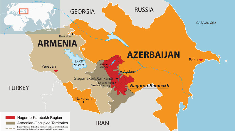 Armenia, Azerbaijan and location of Nagorno-Karabakh. Credit: RFE/RL