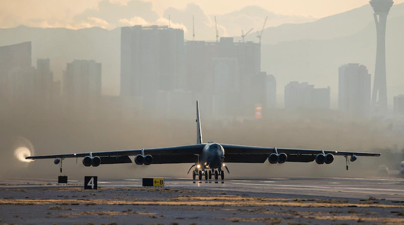 A B-52H Stratofortress bomber assigned to the 340th Weapons Squadron at Barksdale Air Force Base, La., takes off for Weapons School Integration from Nellis Air Force Base, Nev., Nov. 21, 2019. Photo Credit: Air Force Airman 1st Class Bryan Guthrie