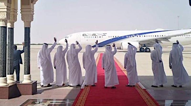 Israeli El Al Airlines flight makes history from Tel Aviv to Abu Dhabi on August 31, 2020. Photo Credit: Twitter