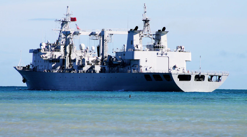 The People's Republic of China, People's Liberation Army (Navy) replenishment ship Qiandaohu departs for the at-sea portion of Rim of the Pacific Exercise 2014. Photo Credit: Navy Petty Officer 2nd Class John Sorensen