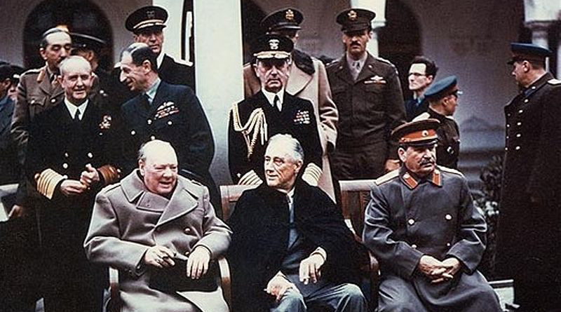 Yalta summit in February 1945 with (from left to right) Winston Churchill, Franklin Roosevelt and Joseph Stalin. Also present are USSR Foreign Minister Vyacheslav Molotov (far right); Field Marshal Alan Brooke, Admiral of the Fleet Sir Andrew Cunningham, RN, Marshal of the RAF Sir Charles Portal, (standing behind Churchill); George Marshall, Army Chief of Staff and Fleet Admiral William D. Leahy, USN, (standing behind Roosevelt). Photograph from the Army Signal Corps Collection in the U.S. National Archives.