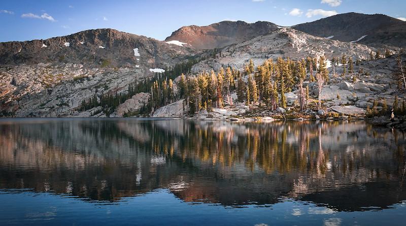 Sierra Nevada California Mountains Lake Reflection Dawn Evening Golden Hour