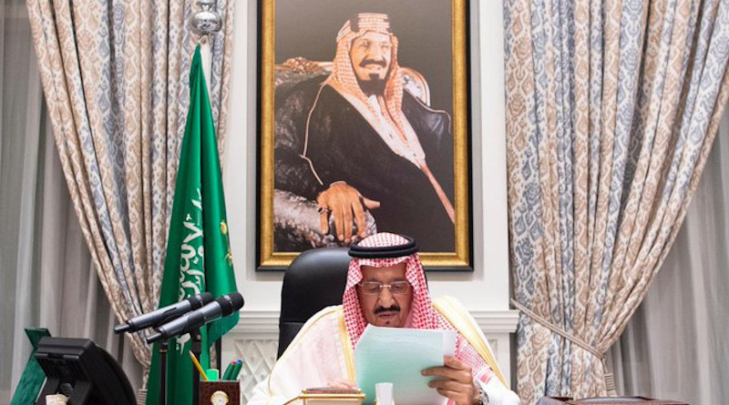 Saudi Arabia's King Salman during his first address to the United Nations at the 75th UN General Assembly meeting, which was being held virtually for the first time on Wednesday Sept. 23, 2020. Photo Credit: SPA