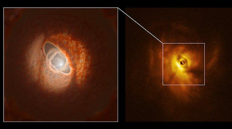 The SPHERE image (right) with an ESO artist impression (left) CREDIT: ESO/L. Calçada, Exeter/Kraus et al.