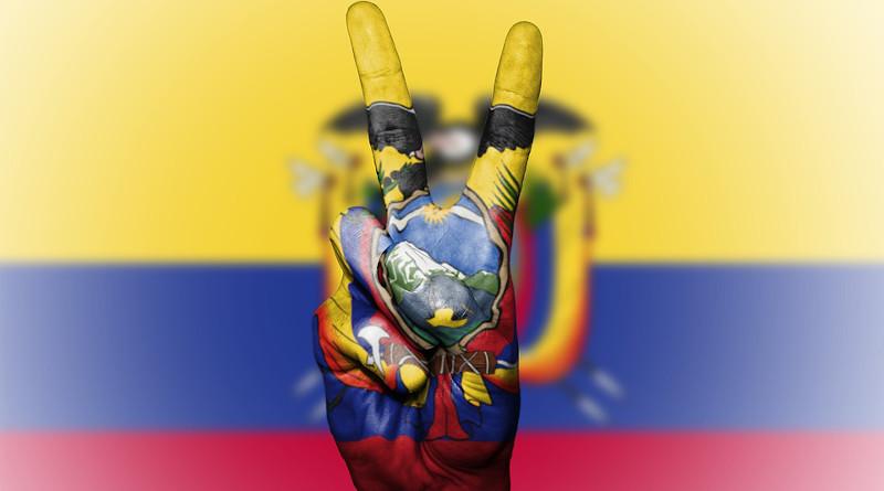 Flag Ecuador Peace Hand Nation Background Banner