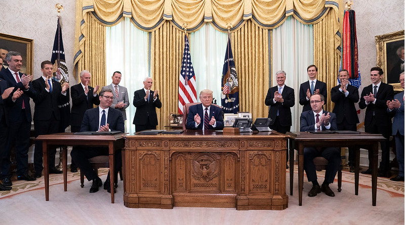 President Donald J. Trump participates in a signing ceremony with Serbian President Aleksandar Vučić and Kosovo Prime Minister Avdullah Hoti Friday, Sept. 4, 2020, in the Oval Office of the White House. (Official White House Photo by Joyce N. Boghosian)
