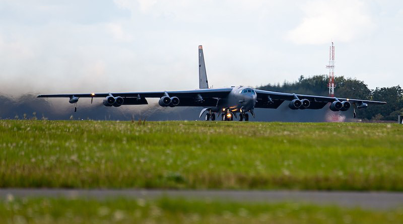 A U.S. Air Force B-52 Stratofortress bomber aircraft takes off at RAF Fairford, England. Photo Credit: US Air Force, Airman 1st Class Jesse Jenny