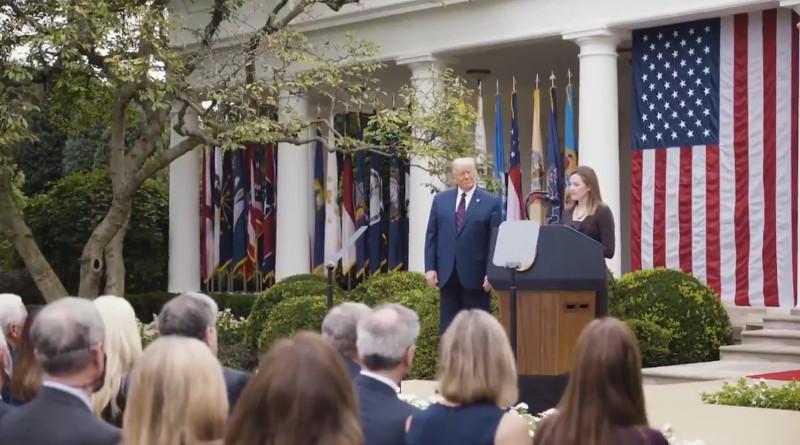U.S. President Donald Trump nominatesAmy Coney Barrett for Supreme Court. Photo Credit: White House video screenshot
