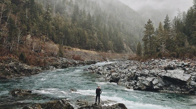 Man Wilderness Nature River Mountain Landscape