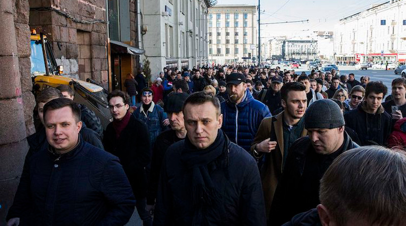 The Russian opposition leader Alexei Navalny marches on Tverskaya street on 26 March 2017. CC BY-SA 4.0